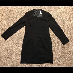 Rare Vintage Black Dress 3/4 Sleeve Square Neck